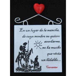 Imán placa Quijote de la Mancha b/n