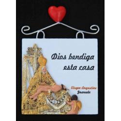 Imán placa Dios bendiga… + Virgen de las Angustias