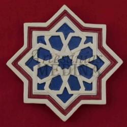 Imán arabesco estrella roja y azul