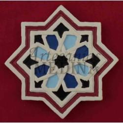 Imán arabesco estrella roja y azul claro