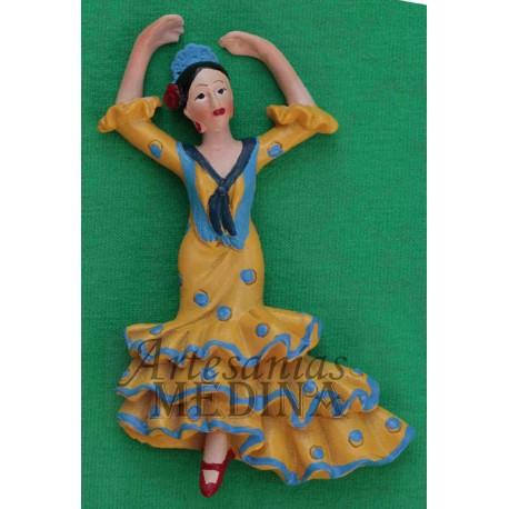 Imán flamenca amarilla y azul