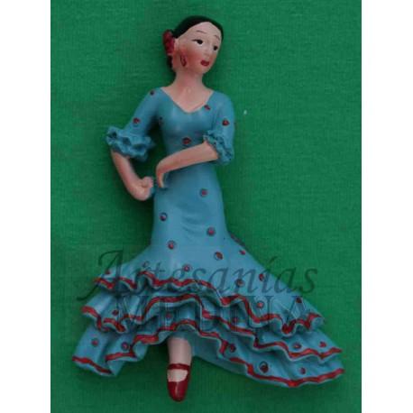 Imán flamenca azul