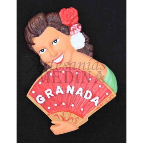 Imán flamenca Granada con abanico