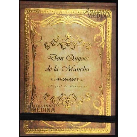 Libreta Don Quijote de la Mancha dorado
